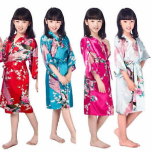 Kid/'s Girl Peacock Sleepwear Bride Kimono Bath Robe Satin Night Dress Gown!!!!!!