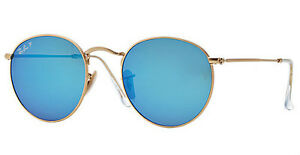 POLARIZED New RAY-BAN Blue FLASH LENS Round Metal Gold Sunglasses RB ... 7dc83381e8