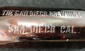 THE-SAN-DIEGO-BREWING-Co-Beer-Bottle-1-Quart-Antique-126-Amber-Rare-Flip-Top