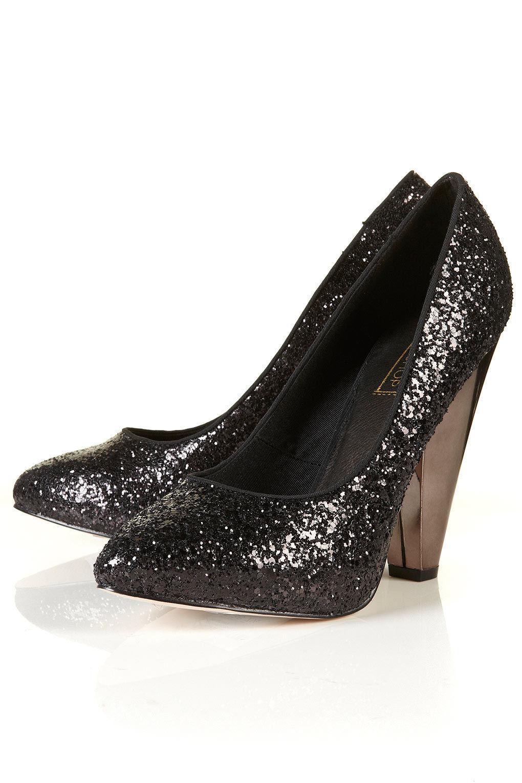 Topshop Black Glitter Court Heels Shoes UK 3 EURO 36 US 5.5 AUS 6   BNWB