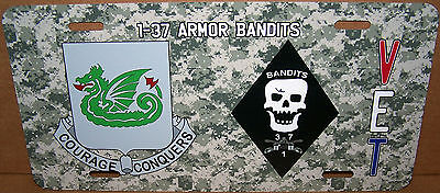 Made in USA 1-37th Armor /'BANDITS/' on an Aluminum License Plate