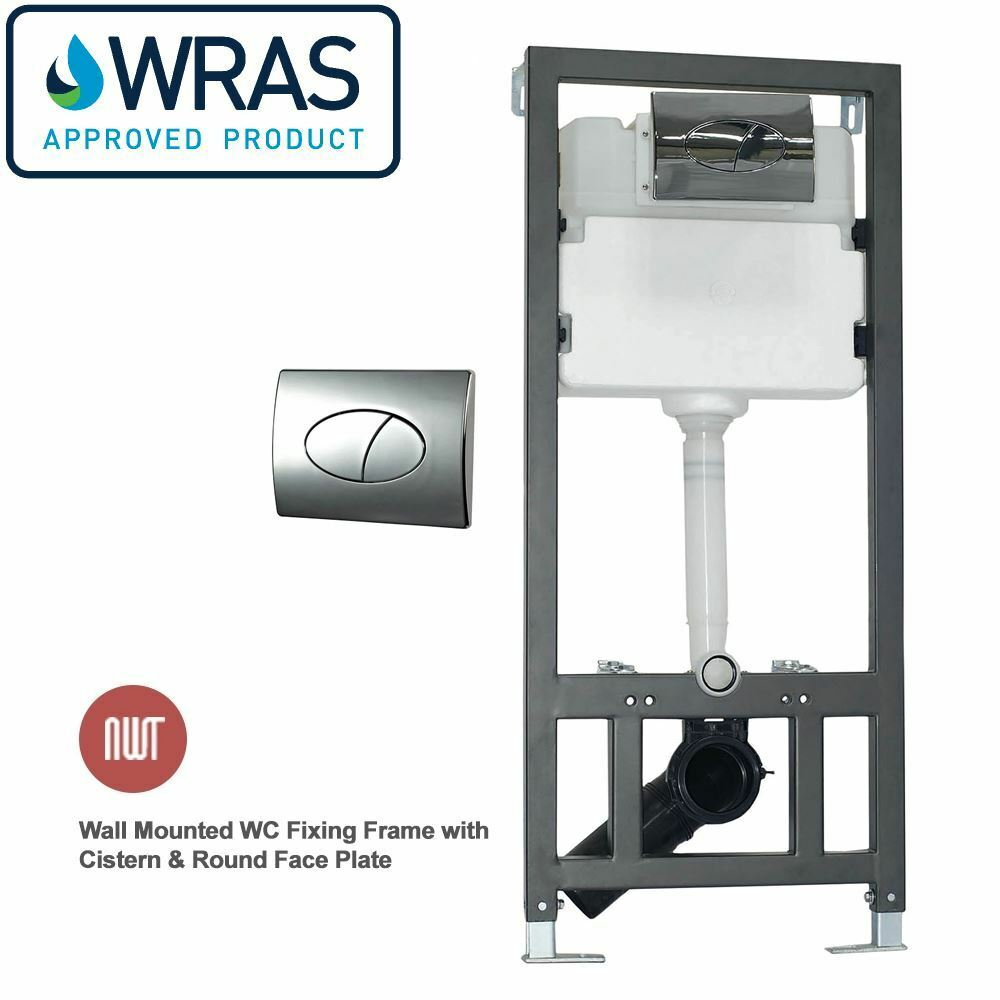 Mural WC fixation cadre inc citerne & round chrome plaque de face