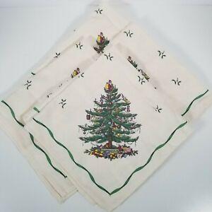 Set-of-4-Spode-Linen-Cloth-Napkins-Christmas-Tree-Pattern