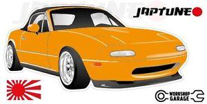 Mazda-Miata-MX5-Style-Sticker-Orange-with-Enkei-Style-Rims-JapTune-Brand
