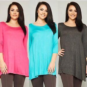 Women-039-s-3-4-Sleeve-Plus-Size-Tunic-Top-Blouse