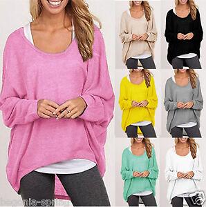 Neu-Damen-Bluse-Tunika-Shirt-Mode-Top-Hemd-Top-Bluse-Ubergrosse-Lose-Shirt-Bluse