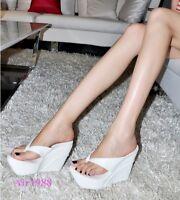 Womens Summer Flip-flop Thong Platform High Wedge Heels Oxfords Sandals Slipper
