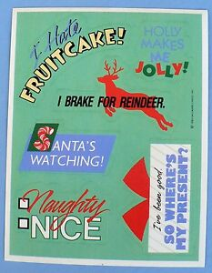 Funny Christmas Sayings.Details About Vintage Hallmark Funny Christmas Sayings 6 Stickers 1 Sheet I Brake For Reindeer