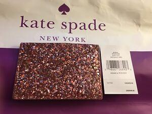 NWT Kate Spade Greta Court Graham Dusty Peony Pink Glitter Card Holder Wallet