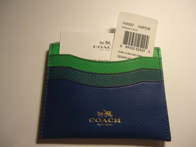 check out 3c8cf fe971 NEW COACH RAINBOW COLORBLOCK FLAT LEATHER CARD CASE F65527 Atlantic