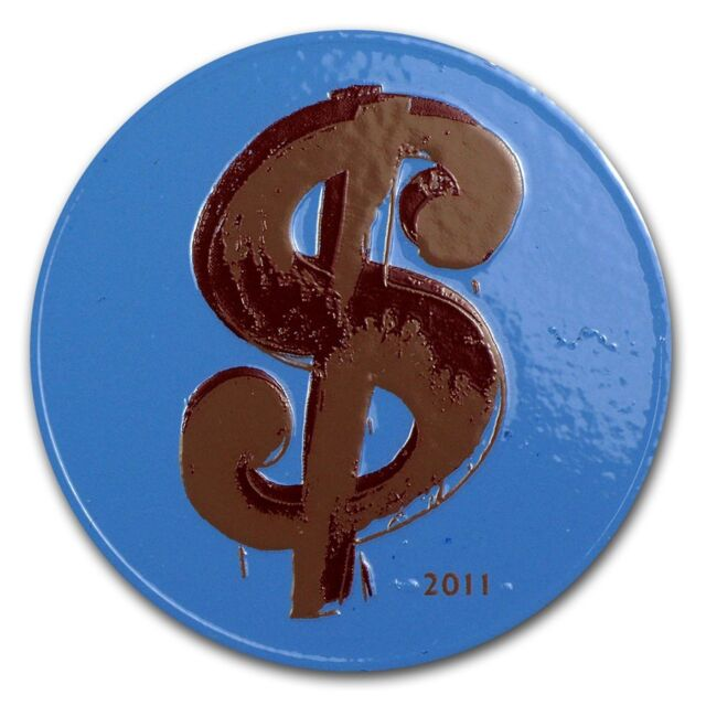France 2011 Andy Warhol Pop Art Dollar Sign 10 Euro Silver Proof with Color