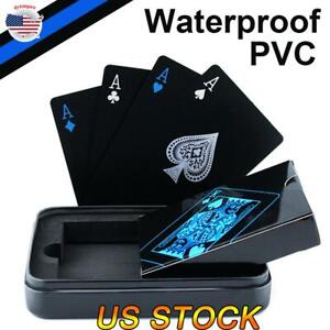Black-Playing-Cards-Quality-Plastic-PVC-Poker-Creative-Gift-Matel-Case-Durable
