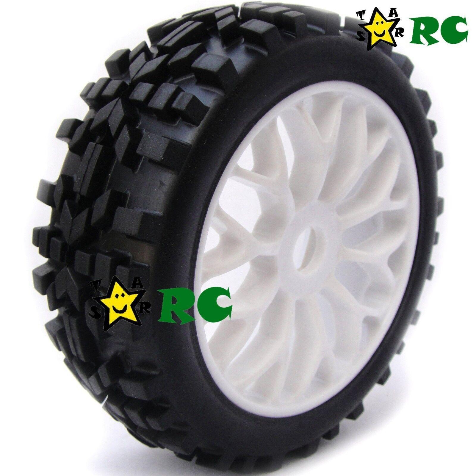 hobbysoul 4pcs 1//8 Off Road Tires Buggy Tyres Hex 17mm Wheels for 1:8 Losi HPI XTR Badlands Cars