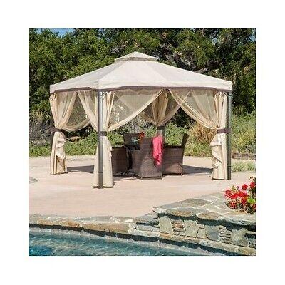 Outdoor Gazebo With Netting Canopy 10x10 Tent Pergola Patio Garden Screen House