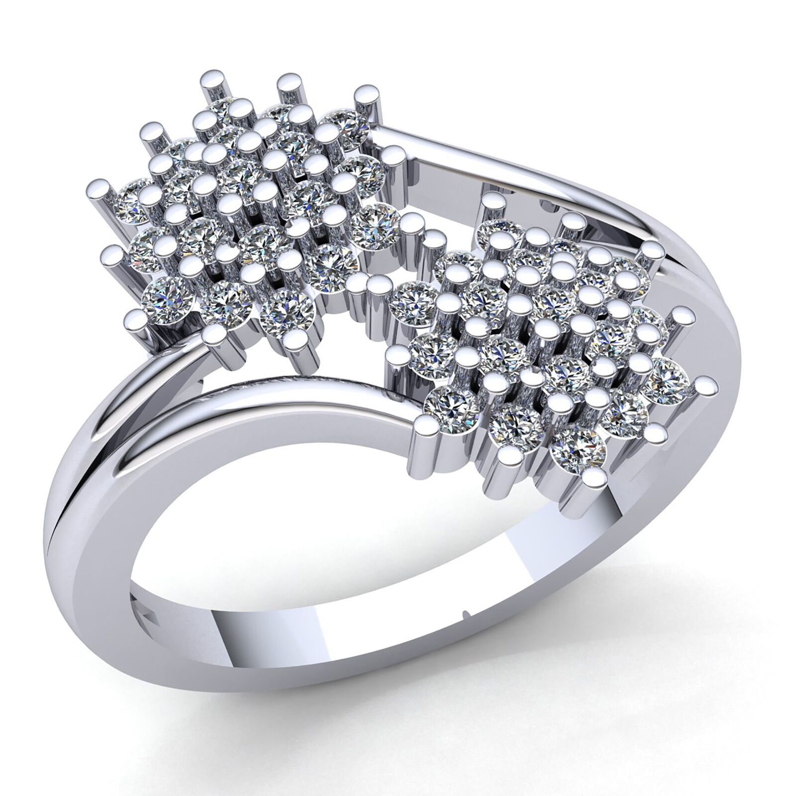 Genuine 0.5ctw Round Cut Diamond Ladies Twisted Cluster Engagement Ring 18K gold