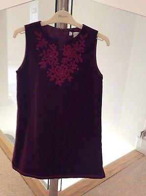 Linea. Bnwt. Borgogna Velluto Cotone Party Dress 9-10 Anni-mostra Il Titolo Originale