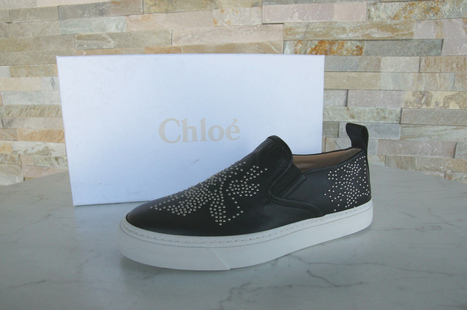 ORIG Chloé Chloe talla 37 slip on mocasines zapatos casual casual casual zapatillas negro nuevo ex PVP
