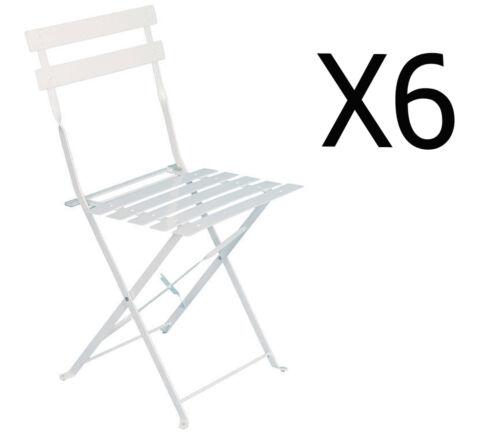 42 x 47 x 81 cm Dim Lot de 6 Chaises Pliantes Elsa blanche en acier