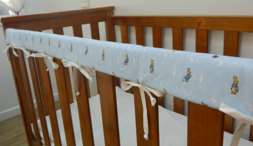1 x Baby Cot Rail Cover Crib Teething Pad Peter Rabbit Blue