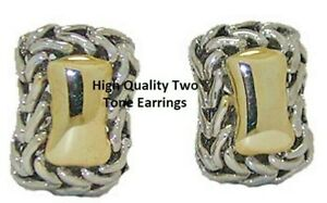 earring-two-2-tone-omega-back-cable-white-yellow-gold-plate-quality-jewelry-NWT