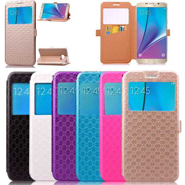 Windows View Flip Leather Card Skin Case Cover For Samsung Galaxy Note 5 S6 Edge