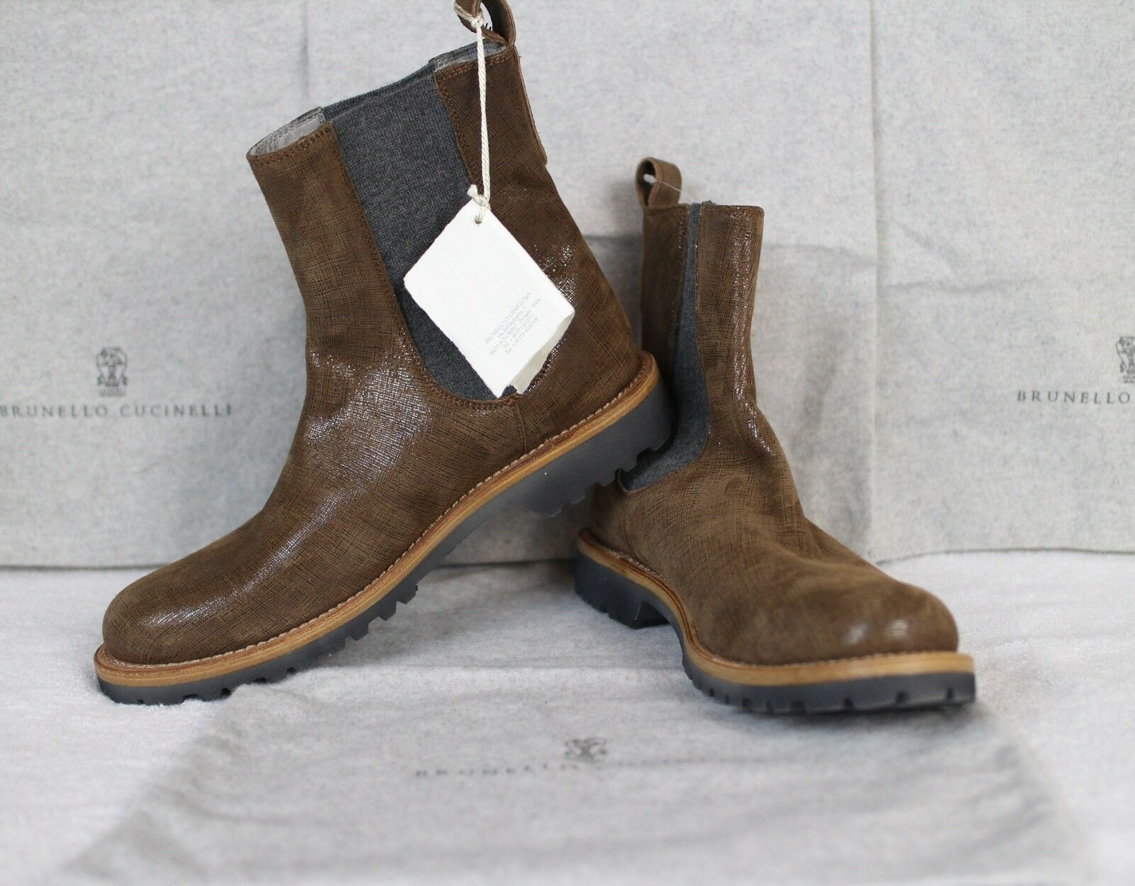 New Brunello Cucinelli Suede And Cashmere Chelsea Boots Beautiful Shoes!! 10.5