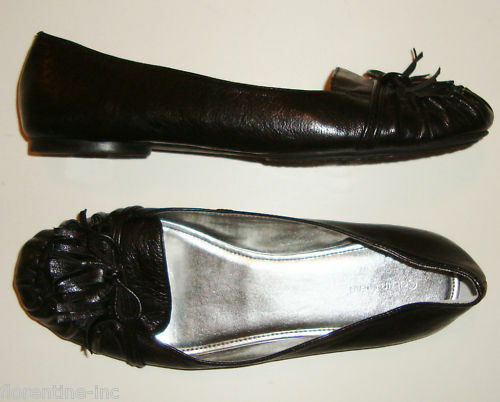 BNWOT:CLASSIC CALVIN KLEIN BLACK LEATHER LOAFER FLATS 9M