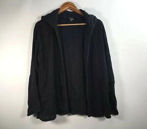 Eileen-Fisher-Women-s-Size-M-Black-Cardigan-Open-Front-Hoodie-Long-Sleeve