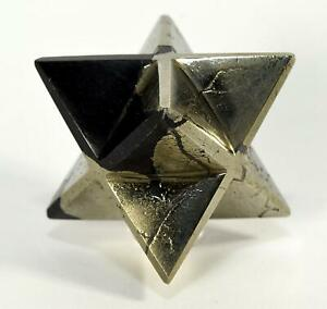 62mm-8-Point-Golden-Pyrite-w-Hematite-Merkaba-Star-Natural-Mineral-Stone-India