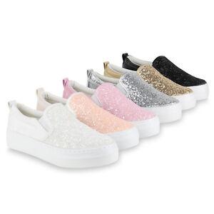 Details zu Damen Plateau Sneaker Slip ons Glitzer Metallic Sneakers Slipper 816860 Schuhe