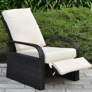 All Weather Wicker Outdoor Recliner Louger Chair With Cushion Waterproof