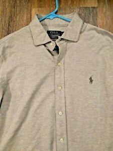 Details about Ralph Lauren Polo Slim Fit Cotton Knit Estate Dress Shirt $125 heathered gray