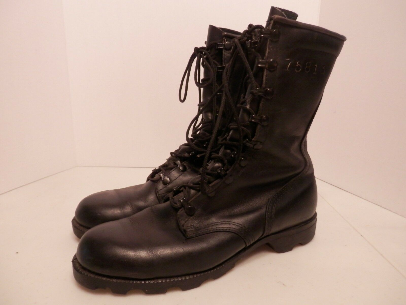 6c31f113711 75813 Black Leather Lace Combat Boots-Size Condition-Free Ship 9.5R ...