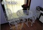 INDOOR OUTDOOR TABLE & CHAIRS PATIO SET Metal Garden Balcony Cafe Black White