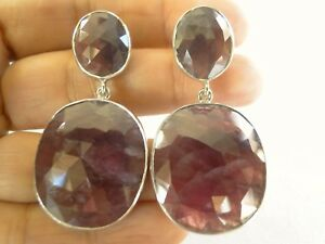 Natural-Pink-Sapphire-2-Stone-925-Sterling-Silver-Dangle-Drop-Stud-Earrings