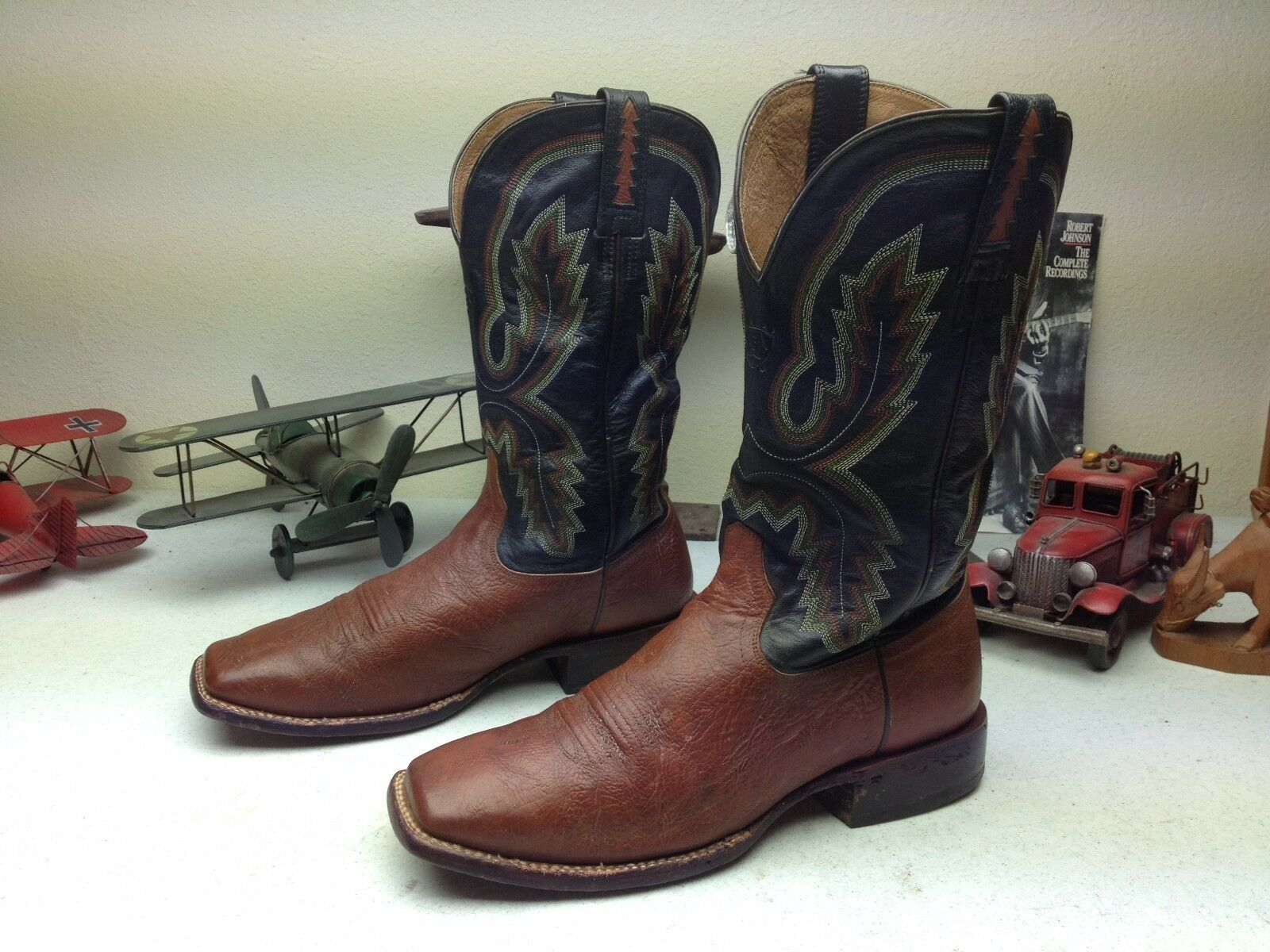 ARIAT SQUARE TOE DISTRESSED BROWN BROWN BROWN LEATHER WESTERN RODEO COWBOY WORK BOOTS 11 EE bebc9b