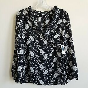 Old-Navy-Floral-Top-Blouse-Womens-XS-V-Neck-Cross-Ruffle-Black-Ivory-Gray-New