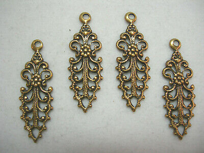 Antiqued Brass VictorianFiligree Drops Earring Findings 4