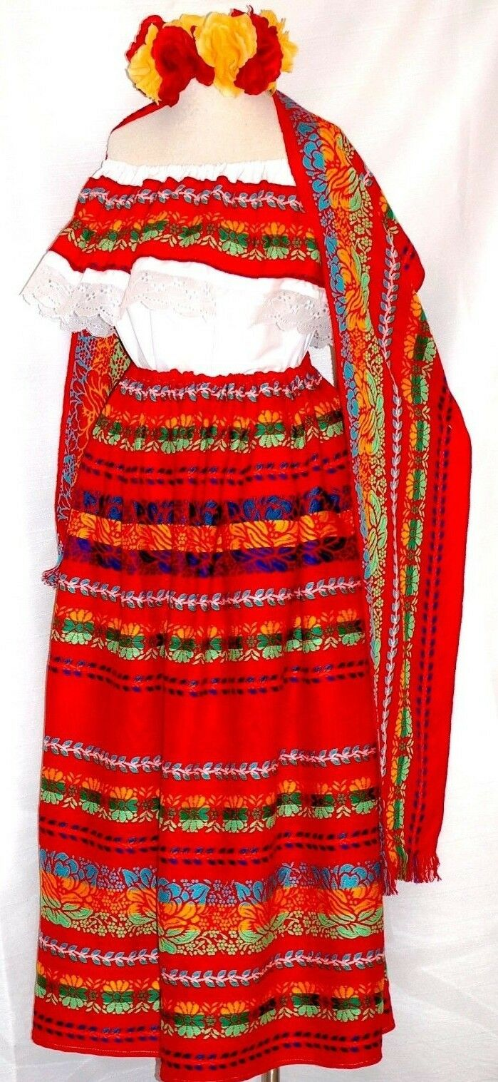 5 de Mayo Mexico rot Maxi Dress 3 pc shawl MultiFarbe Floral Blouse Skirt Shawl