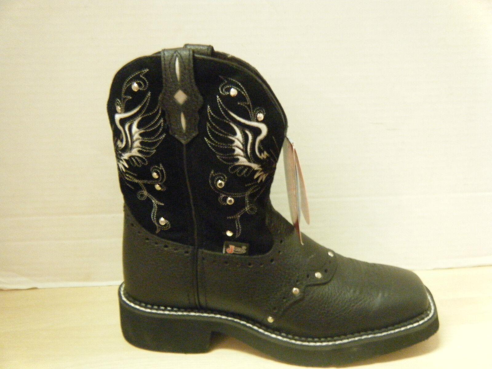 Cowgirl botas botas Justin Damas Gitano negro con tachuelas (estilo Nº L9977)