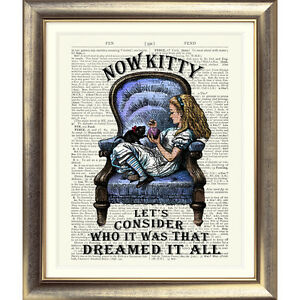 ART-PRINT-ON-ORIGINAL-ANTIQUE-BOOK-PAGE-Vintage-Alice-in-Wonderland-Old-Picture