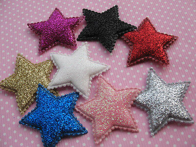 """80 Glitter 1.5"""" Star Padded applique hair -8 Colors"""