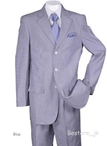 Men/'s 3 Button Seersucker Striped Suit ST802 Blue Jacket /& Pants