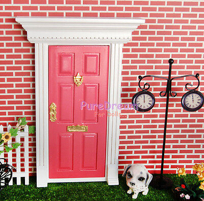 1:12 Dollhouse Miniature Wood Fairy Door Assembled with Metal Accessories