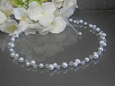 Bezaubernde Perlen Kette Collier weiß Glas Crackle Perlen klar TOP handgefertigt