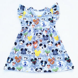 Girls Mickey Mouse Star Wars Flutter Pearl Dress Blue Milk Silk Sizes 12M-7