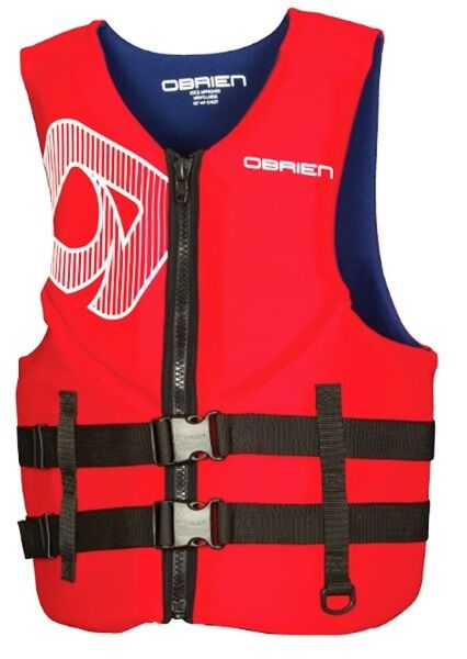 O'Brien Traditional Biolite Watersports Vest, XS - 3XL, Red & bluee 56406
