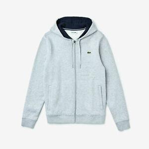 Lacoste-Men-039-s-SZ-M-4-Full-Zip-Hoodie-Fleece-Sweatshirt-Gray
