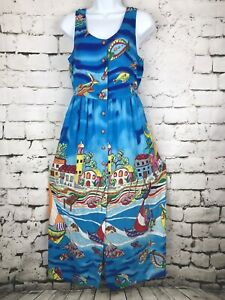 Vintage-90-039-s-Carole-Little-Sport-Button-Front-Italian-Seaside-Beach-Dress-Size-6