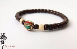 Armband-Kokosnuss-Perle-Kupferperle-Braun-Bunt